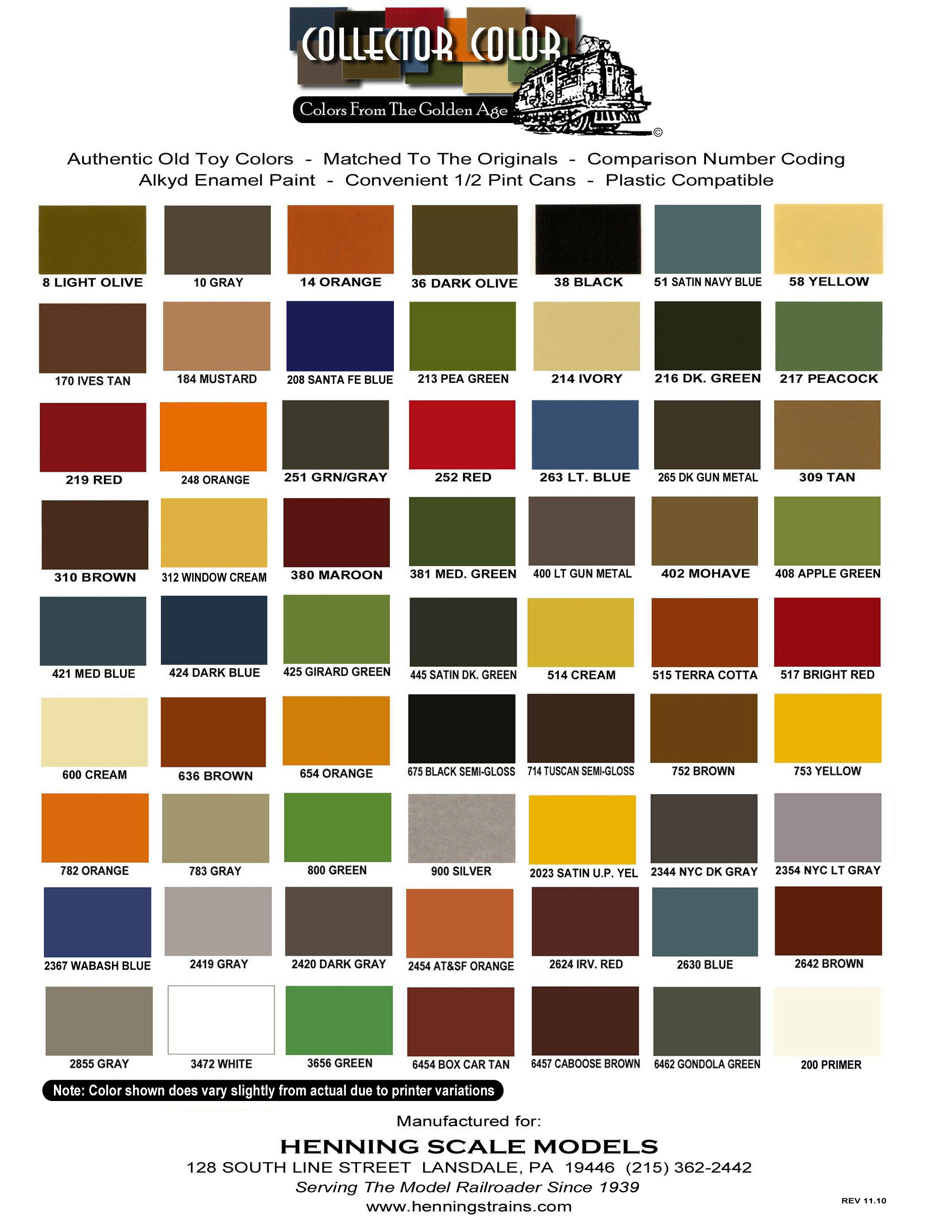 Hennings collector color paint color sheet